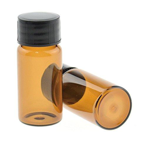 10ml Liquid Sampling Sample Glass Bottles Vials 1/3 Oz Screw Cap Brown Bottles Pack of 10