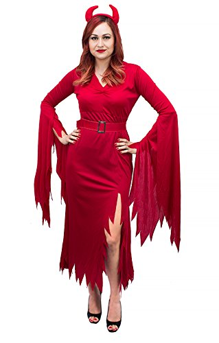 Sultry Devil Costumes (Women's Red Devil Complete Costume - Size M/L)
