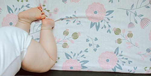 Pickle & Pumpkin Premium Graco Pack n Play Mattress Sheet | 100% Organic Jersey Cotton Pack and Play Fitted Sheet | 2 Pack | Perfect for Graco Playard and Playpen Mattress | Floral & Pink Design by Bouncy Baby (Image #3)