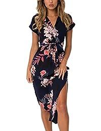 Womens Dresses Summer Casual V-Neck Floral Print Geometric Pattern Belted Dress