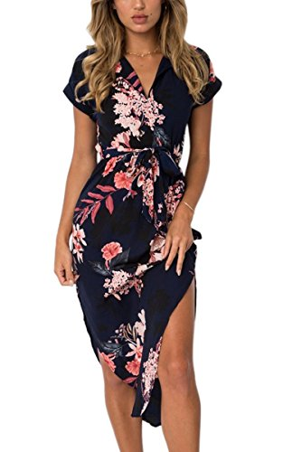 ECOWISH Womens Dresses Summer Casual V-Neck Floral Print Geometric Pattern Belted Dress Black M