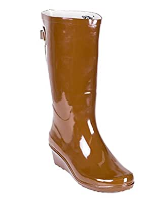 Amazon.com | Forever Young Women Wedge Rubber Rain Boots
