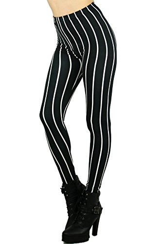 World of Leggings Black Pinstripe Leggings Pink Floral Leggings