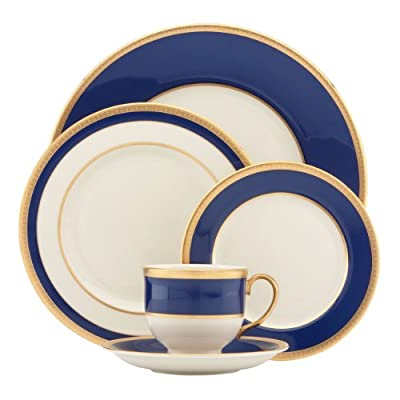 Lenox 823150 Independence 5-Piece Place Setting, Ivory - Crafted of Lenox white bone china Accented with 24 karat gold Dishwasher-safe shatter-resistant pitcher with 56-ounce capacity; soft-grip handle - kitchen-tabletop, kitchen-dining-room, dinnerware-sets - 41cOdfAfB9L. SS400  -