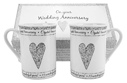 Haysoms 15th Crystal Wedding Anniversary Gift Set Ceramic ()