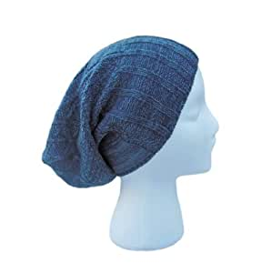 Slouch Beanie - VINTAGE Slouchy Beret - Unisex Knit Hat (Navy)