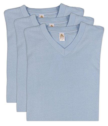 Access Men's Heavyweight Short Sleeve Cotton V-Neck T-Shirt (Pack of 3) Sky (Blue Sky Heavyweight T-shirt)