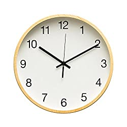 Arospa Rustic Minimalist 12 Wall Clock Silent Non-Ticking Sweep Movement with Vintage Wood Grain Frame (Simple White With Maple Wood)
