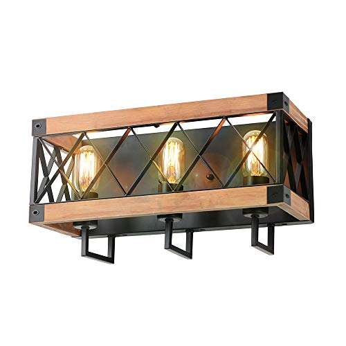 Eumyviv Rustic Wood Wall Lamp with Mesh Cage Industrial Wall Sconce, Retro Bathroom Lamp Log Cabin Home Vintage Edison Sconce Light Fixture 3-Lights, Brown (W0059)