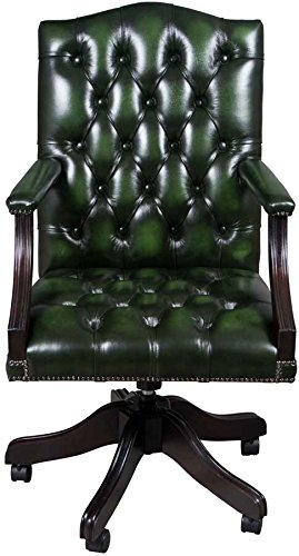Lovely Gainsborough Style Swivel Leather Desk Chair Green Leather