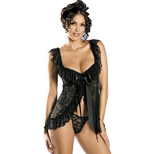 Zlolia Clearance Sexy Lingerie Mesh Hollow Baby Doll Dress Erotic Women Underwear Sleepwear Lace Dress G-String Set -