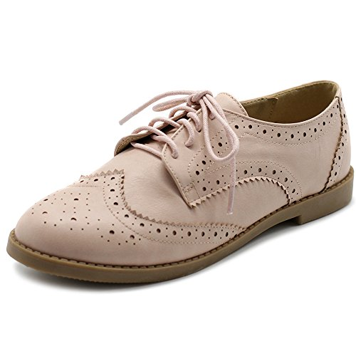 Ollio Women's Flats Shoes Wingtip Lace up Oxfords M2921 (8 B(M) US, Nude Pink) by Ollio