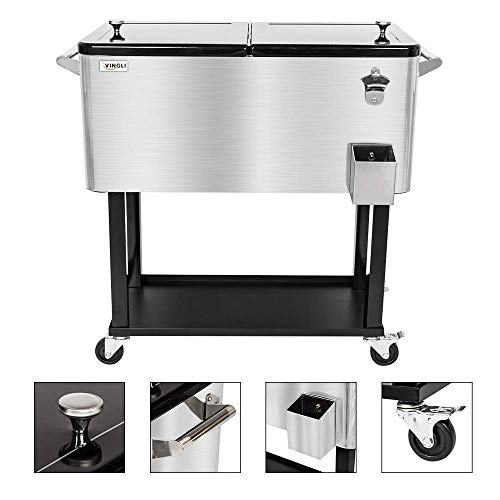 VINGLI 80 Quart Rolling Ice Chest, Portable Patio Party Bar Drink Cooler Cart, with Shelf, Beverage Pool with Bottle Opener (Stainless Steel) (For Stand Bars Alone Sale)