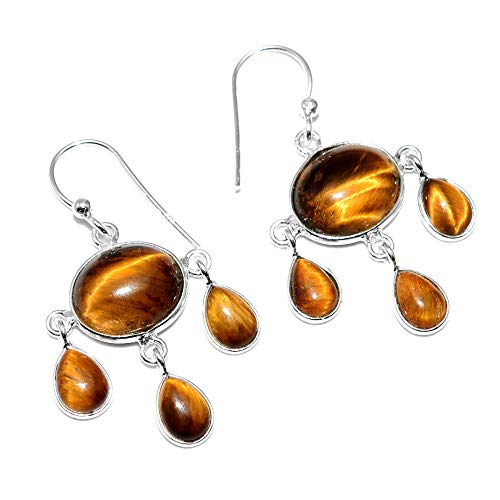 Silver Palace Sterling Silver Handmade And Natural Tiger Eye Earrings for Womens and Girls ()