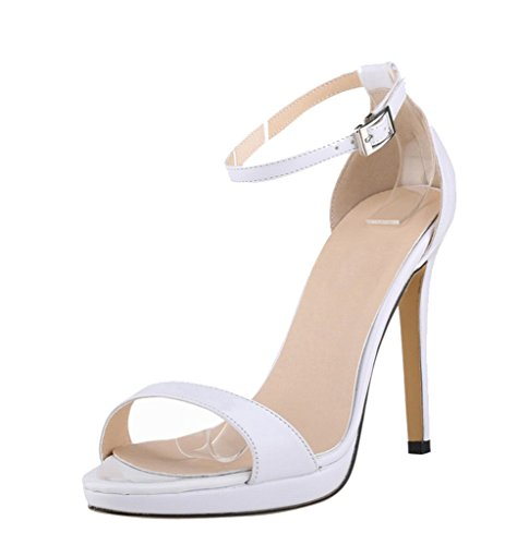 Dress Heel Sandal High Elegant White Sexy Patent Wedding PU Strap Party Ankle Women's wAYpHqH
