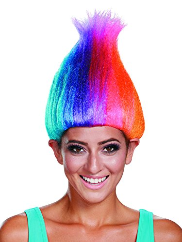 Troll Wigs (Disguise Women's Rainbow Colored Licensed Adult Troll Wig, Multi, One Size)