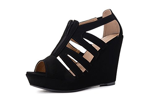 - Mila Lady Lisa 5 Strappy Open Toe Platform Wedges Heeled Sandals Shoes for Women Black 5.5