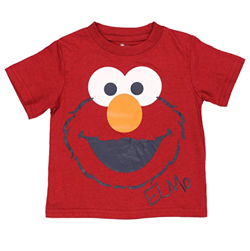 Sesame Street Boys Short Sleeve Tee (18 Months, Red Elmo Face)