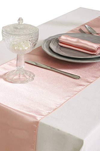mds Pack of 5 Wedding 12 x 108 inch Satin Table Runner for Wedding Banquet Decoration- Blush -