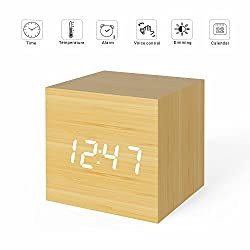 MiCar Digital Alarm Clock, Wood LED Light Mini Modern Cube Desk Alarm Clock Displays Time Date Temperature for Kids, Bedrooms, Home, Dormitory, Travel