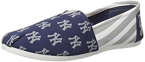 MLB New York Yankees Women's Canvas Stripe Shoes, Medium (7-8), Blue - New York Yankees Fabric