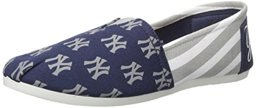 FOCO MLB New York Yankees Women's Canvas Stripe Shoes, Medium (7-8), Blue