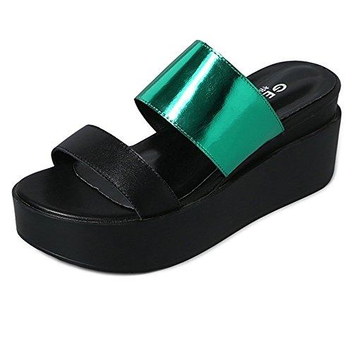 PEP UK5 CN38 Moyen Wedges ZHANGRONG Nouvelles Haut Chaussures EU38 Toe Sandales Chaussons Talon Strappy Couleur Femme Taille Bas Femmes Haut A 5 qfP1qHw4