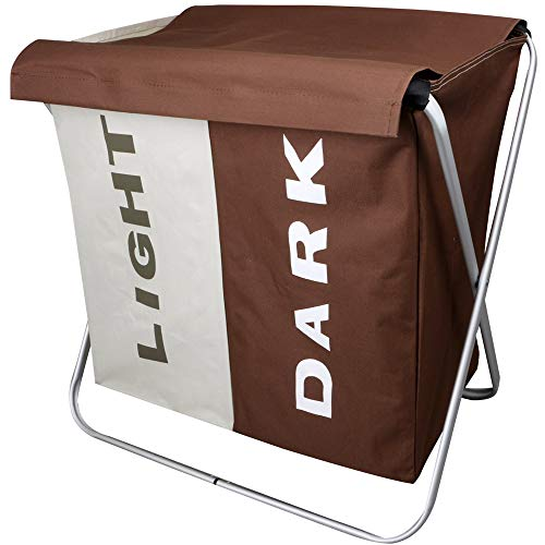 "WIFUME Light and Dark Home Double Laundry Basket with Lid 22.8""x 14.9""x 22.4"" Aluminum X-Frame 600D Oxford 2 Sections Large Folding Dirty Clothes Sorter Washing Storage Bag Hamper Brown and Beige"