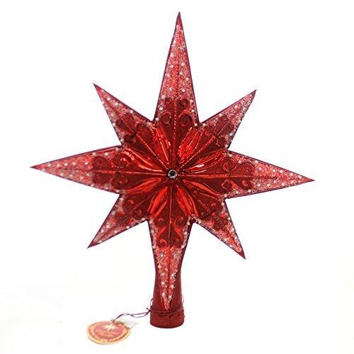 (Christopher Radko Ruby Stellar Star Finial Christmas Tree Topper Ornament)
