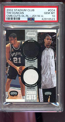 2002-03 Topps Stadium Club Combo Cuts 31/100 Tim Duncan Game Used Game Worn Jersey PSA 10 Graded NBA Basketball Card ()
