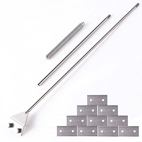 (Stainless Steel Algae Scraper Cleaner with 10 Right Angle Blades for Aquarium Fish Plant Glass Tank, 25.5 inch)