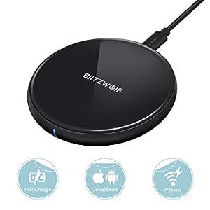 BlitzWolf Cargador Inalámbrico, 5W Cargador Wireless Cargador Inducción para iPhone X/8/8Plus, Samsung S8/S8 Plus/Note 8/7/S7/S7 Edge/S6, LG G3, Nexus 4/5/6/7 y Dispositivos con Tecnología Qi(Negro)