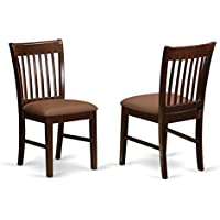 East West Furniture NFC-MAH-C Dining Room Chair Set with Upholstered Seat, Mahogany Finish, Set of 2