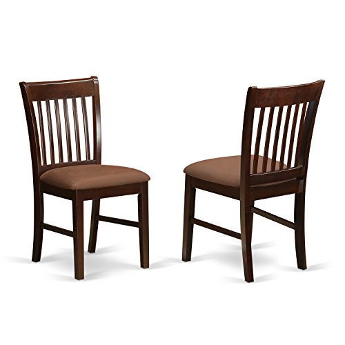 East West Furniture NFC-MAH-C Dining Room Chair Set with Upholstered Seat, Mahogany Finish, Set of 2 ()