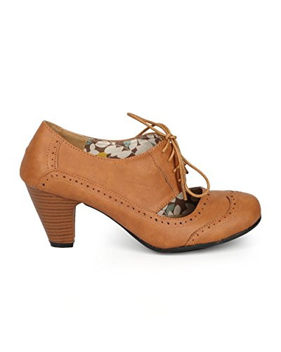 Refresh Women Leatherette Cut Out Lace Up Chunky Heel Spectator Pump CH01 - Tan Leatherette (Size: 7.0) by Refresh (Image #1)