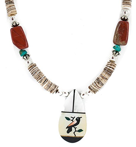 ($270Tag Bird Silver Navajo Inlay Natural Turquoise MOP Red Jasper Onyx Native American Necklace)