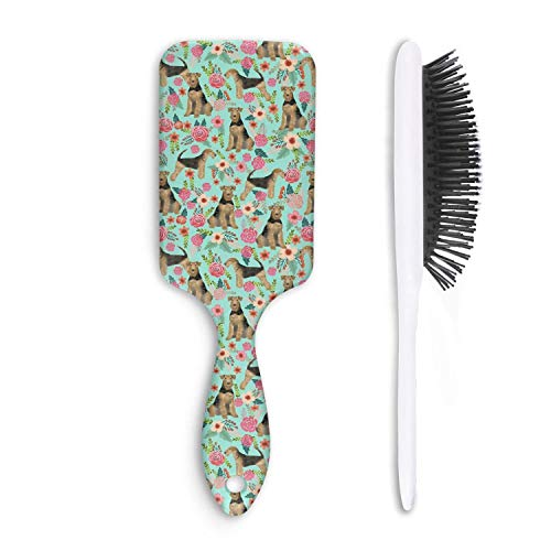 Airedale Terrier Cute Dogs with Florals Unisex Hair Brushes Professional Fiber Anti Static Straight Hair Magic Hair Comb Tail Hair Comb
