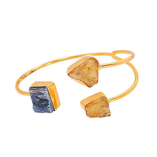 Bhagatjewels Fashion Blue Kyanite and Rough Citrine Gemstone Cuff Bracelet with 18k Gold Vermeil Overlay Brass