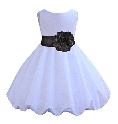 Wedding Pageant White Taffeta Flower Girl Knee Length Bubble Dress 846F 8
