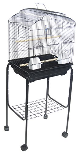 YML 3/8″ Bar Spacing Shall Top Small Bird Cage with Black Stand, 18″ x 14″