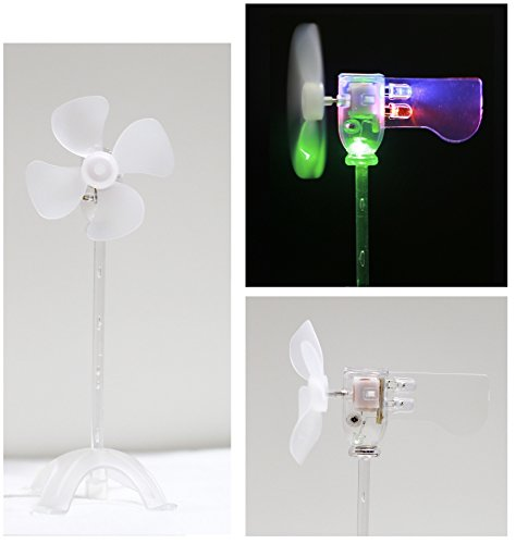LED windmill, wind power experimental model, suitable for energy conservation scientific experiment, cultivate free research and imagination, used as fun toy or ornament (Green & Red & (Wind Power Experiment Kit)