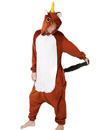 Dance Costumes As Animals (Unicorn Pajamas Animal Costume Onesie Christmas Gift Homewear Adult Kigurumi Sleepsuit (S(Height 151-160 CM), Brown))