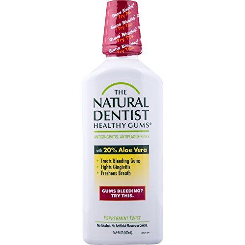 Aloe Vera Oral Care Mouthwash - The Natural Dentist Healthy Gums Antigingivitis Mouthwash, Peppermint Twist, 16.9 Ounce Bottle (Pack of 3), Alcohol-Free Mouthwash for Daily Use, Treats Bleeding Gums, Fights Gingivitis, 20% Aloe Vera