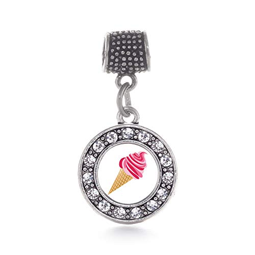 Inspired Silver - Ice Cream Cone Lovers Memory Charm for Women - Silver Circle Charm for Bracelet with Cubic Zirconia Jewelry (Ice Cream Cone Bracelet)
