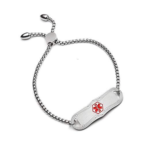 BBX JEWELRY Medical Alert Bracelets for Women Girls Adjustable Length 5-8.5 inches