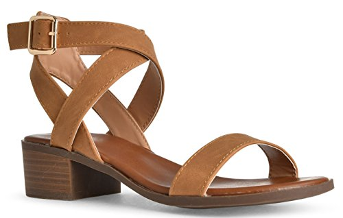 LUSTHAVE Women's Front Strap Ankle Wrap Adjustable Buckle Stacked Chunky Heel Gladiator Summer Dress Sandal Tan 8