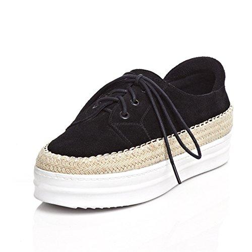 RoseG Derby Espadrilles Cuir Noir Femme Plateau Sneakers Lacets Plateforme vvfrgw