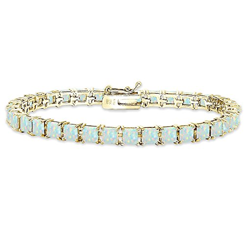 Yellow Gold Flashed Sterling Silver Simulated White Opal 4mm Princess-Cut Square Classic Tennis Bracelet