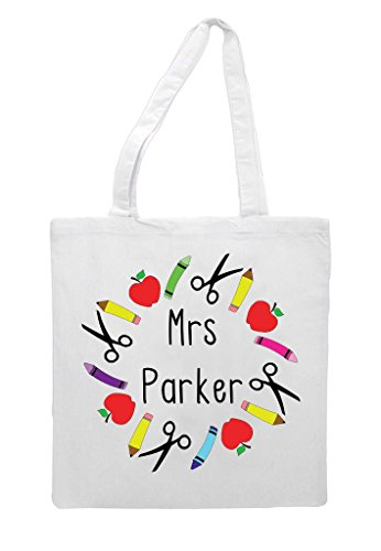Teacher Appreciation Tote Classroom Stationary Bag Sublimation Gift Personalised Shopper White Circle c0actZWqI