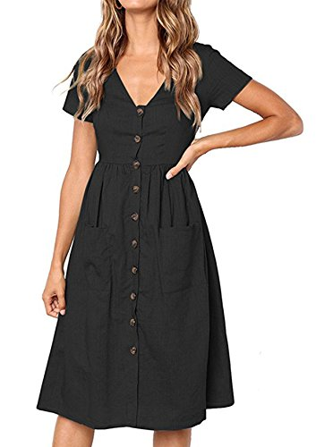 Yidarton Women's Summer Short Sleeve V Neck Button Down Causal Plain Swing Midi Dress with Pockets (Dollar Day Dress)